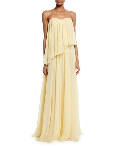 Asymmetric Strapless Popover Gown