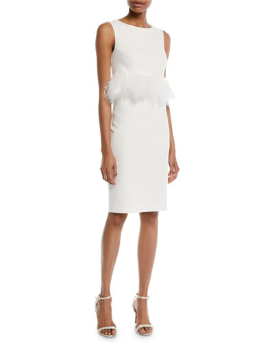 Sleeveless Sheath Cocktail Dress w/ Popover Feathers