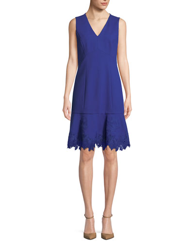 Darianna V-Neck Sleeveless A-Line Crepe Dress w/ Lace Hem