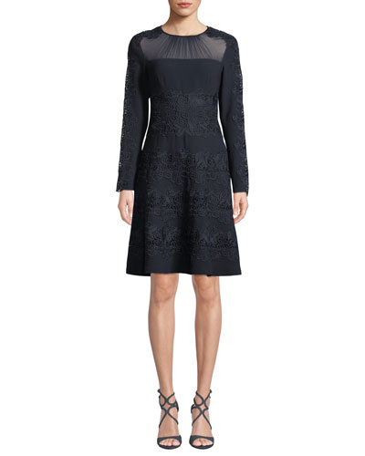 6ed1ba081234 Cora Shirred Jewel-Neck Long-Sleeve A-Line Crepe Dress w/ Floral Quick  Look. Elie Tahari