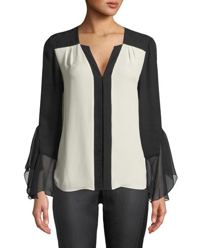 Margita Two-Tone Silk Blouse