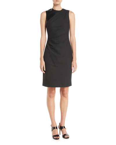 Raphaella Side-Ruched Sheath Dress