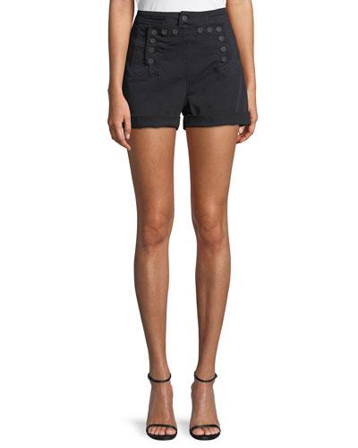 Pierce Sailor Button High-Waist Shorts