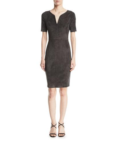 Emily Suede Sheath Dress
