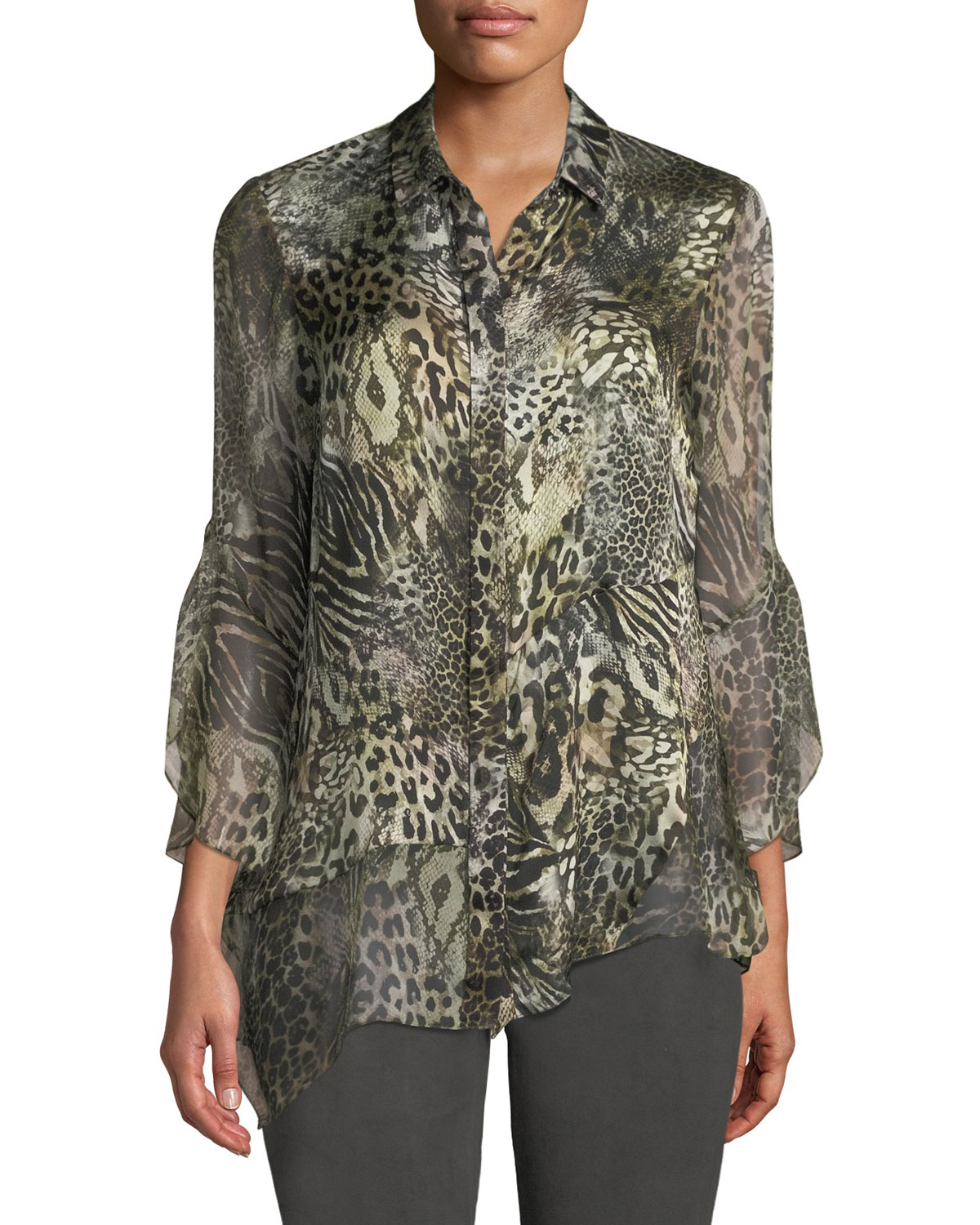 Layla Animal-Print Silk Blouse