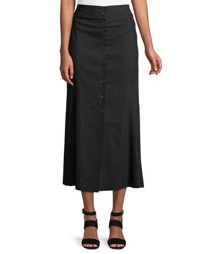 Amelie Button-Front Midi Skirt