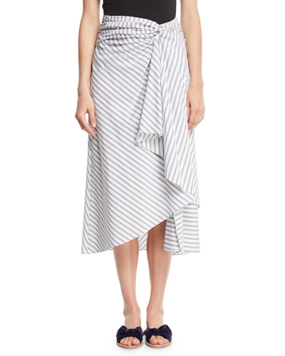 Diller Striped Draped Cotton Midi Skirt
