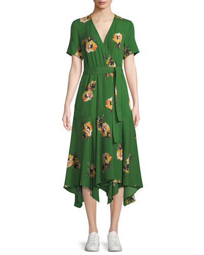 Cora Floral Silk Wrap Midi Dress