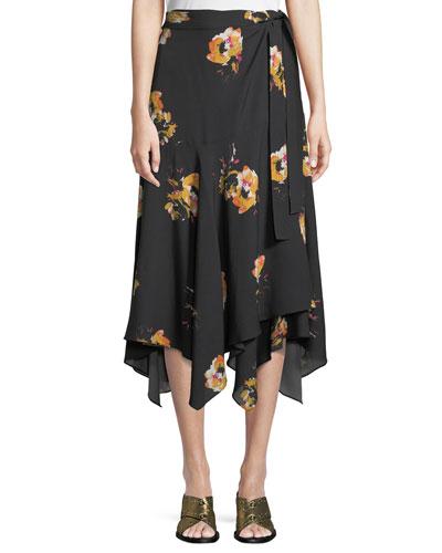 Borden Floral Silk Wrap Midi Skirt