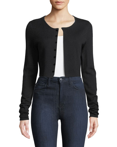 Rosie Cropped Merino Cardigan Sweater