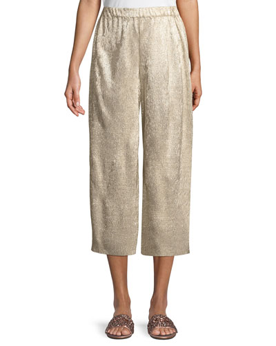 Elba Plisse Pull-On Cropped Wide-Leg Pants