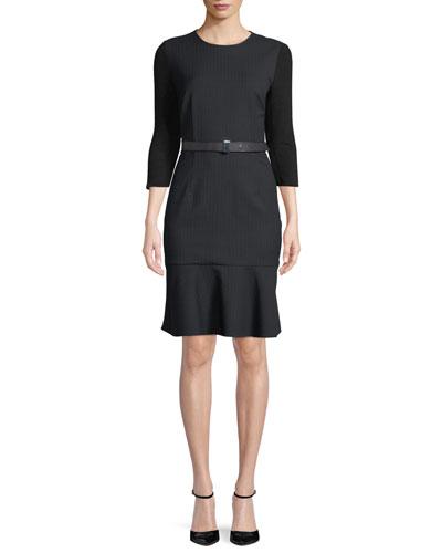 Storm Jewel-Neck 3/4-Sleeve Belted Pinstripe Dress w/ Flounce Hem