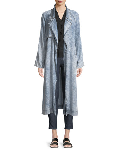 Jocelyn Belted Chambray Trench Coat