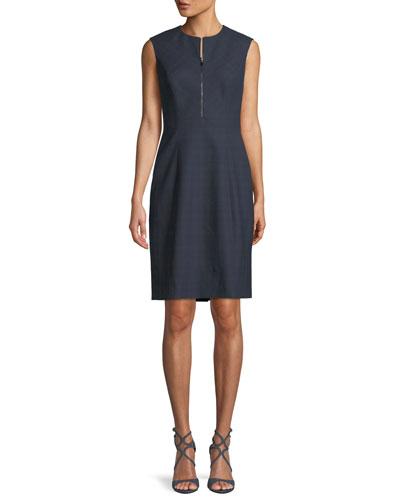 316479c2ea9 Galiena Zip-Front Sleeveless Tonal Plaid Sheath Dress Quick Look. Elie  Tahari