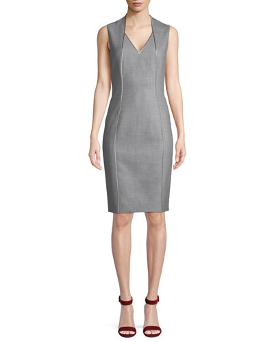 Wendolyn V-Neck Sleeveless Wool Sheath Dress 0a051a477b65