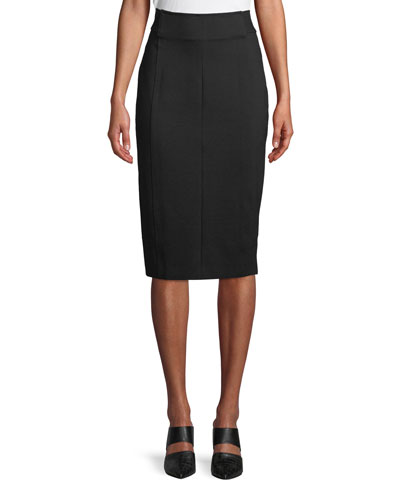 Genisis Zip-Front Knee-Length Pencil Skirt