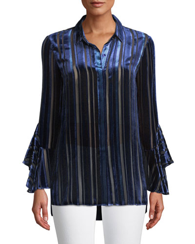 Button-Front Draped-Sleeve Striped Velvet Burnout Blouse