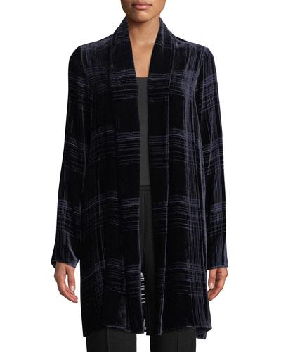 Dorinda Open-Front Striped Burnout Velvet Cardigan