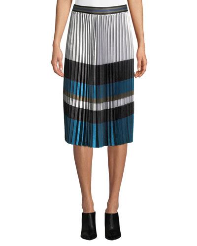 Tamsen Colorblock Pleated Skirt