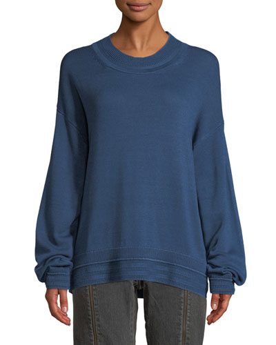 Hensley Rib-Trim Cotton Pullover Sweater