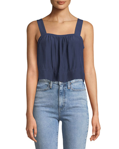 Gwyn Square-Neck Sleeveless Cropped Top