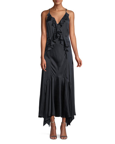 Silk Charmeuse Ruffle Slip Dress