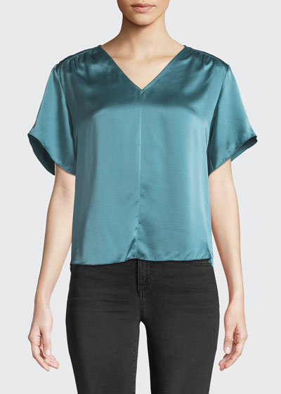 d063d1cd7639a5 Short-Sleeve Silk Charmeuse V-Neck Top Quick Look. Rebecca Taylor
