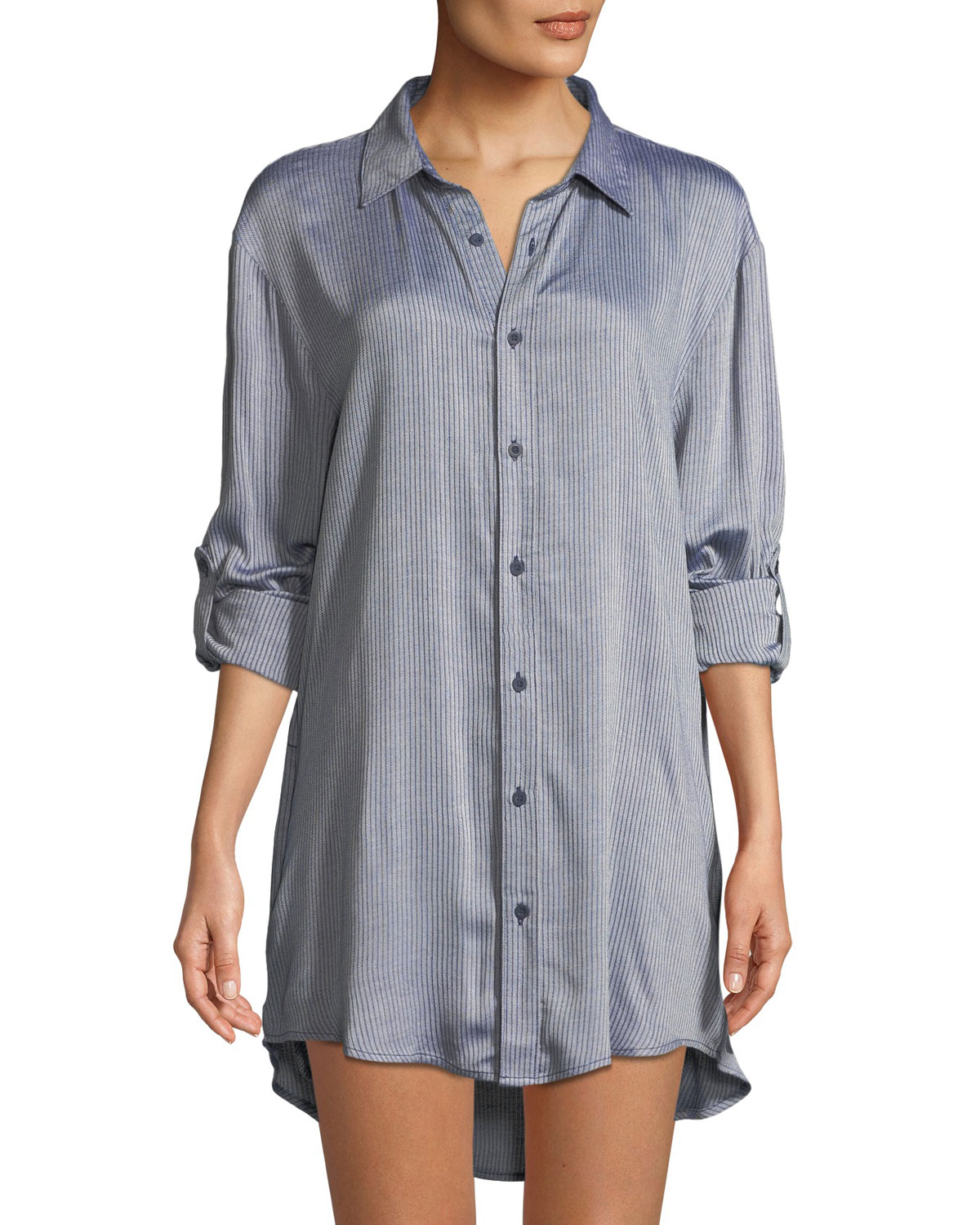 Marie Striped Button-Front Coverup Tunic