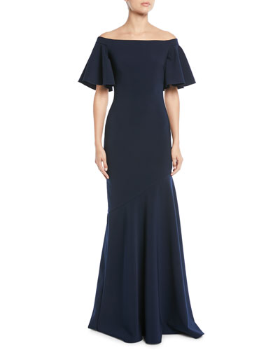 Off-the-Shoulder Ruffle-Sleeve Gown