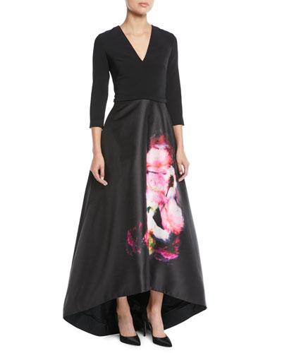 High-Low Ball Gown w/ Flower Skirt