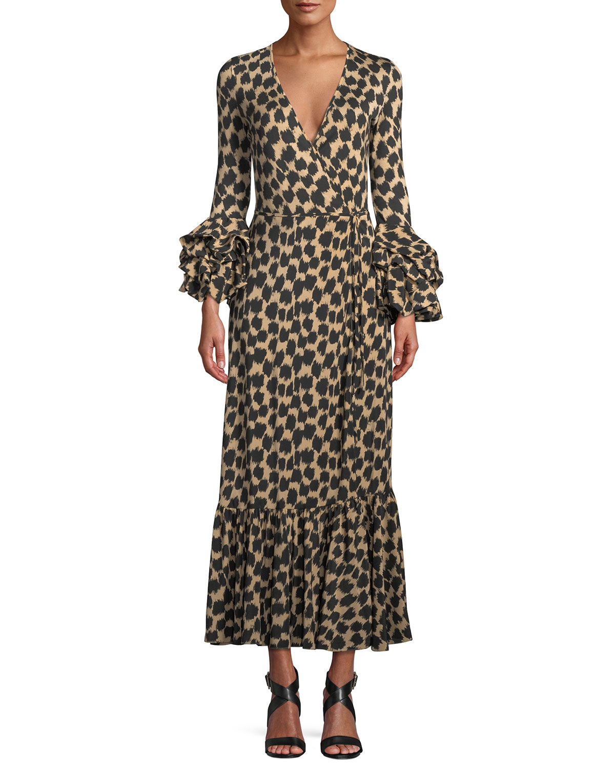Printed Ruffle-Sleeve Silk Wrap Dress, Brown