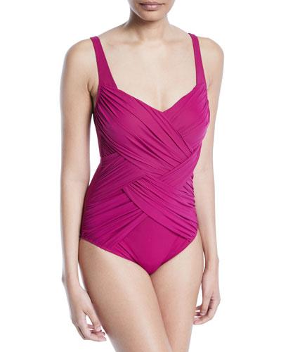 5c5f6920f2 Lattice Ruched One-Piece Swimsuit Quick Look. Gottex