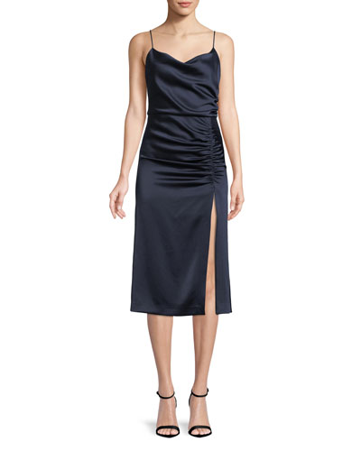 Dion Ruched Midi Slip Dress with Slit