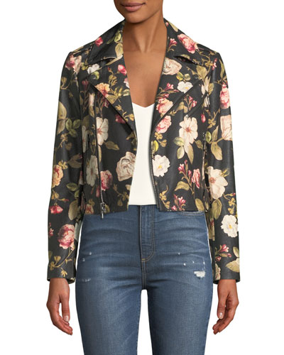 Cody Crop Floral-Print Leather Moto Jacket