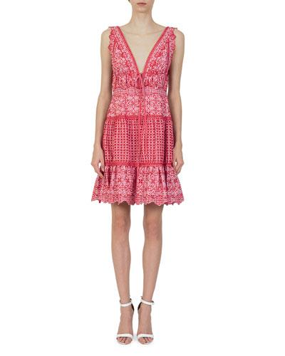 V-Neck Sleeveless Eyelet Embroidery Gathered Mini Dress