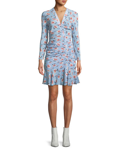 24a508314 Rowe Bracelet-Sleeve Ruched Asymmetric-Placket Floral-Print Silk Dress