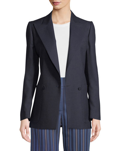 Leamington Pindot Wool Single-Button Jacket