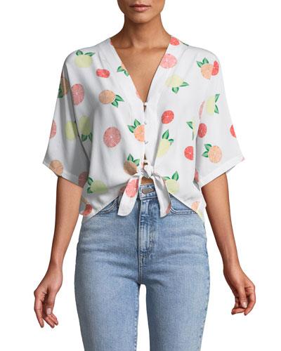 Thea Citrus-Print Silk Tie-Front Top