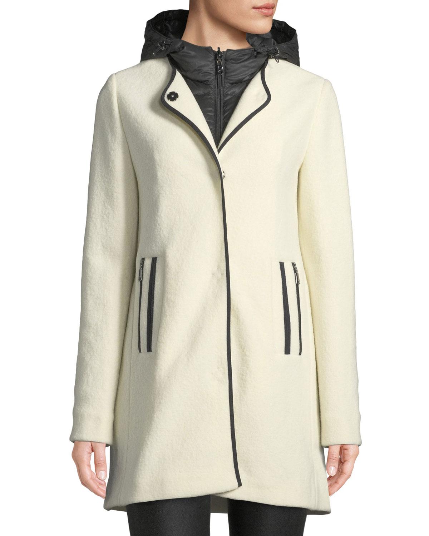 BOGNER Susana Two-Piece Coat W/ Hood & Wool Overlay in Off White