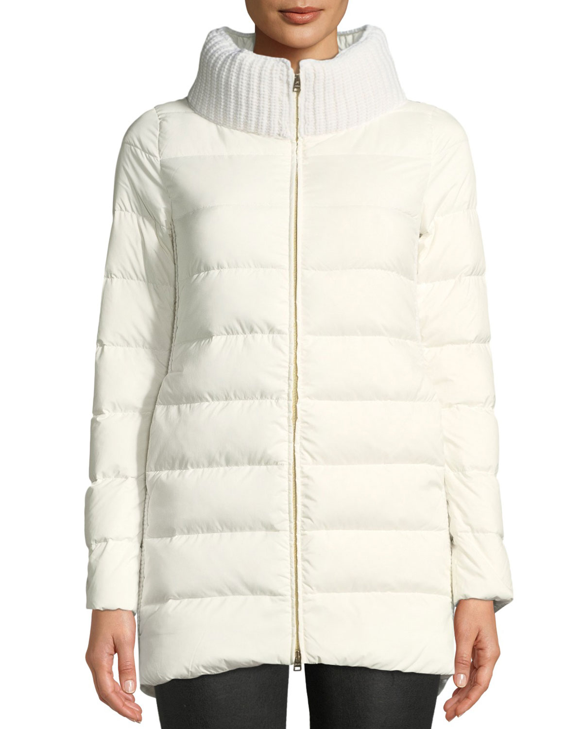 HERNO Wool & Down Combo Puffer Coat in Ivory