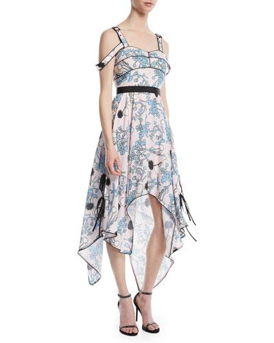 Asymmetric Floral-Print Midi Dress