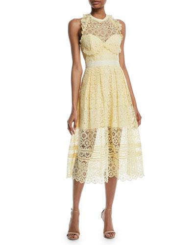 Floral Lace Halter Midi Cocktail Dress