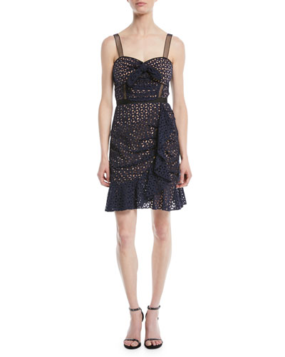 e7e6be1f66f Floral Broderie Anglaise Flounce Cocktail Dress Quick Look. Self-Portrait