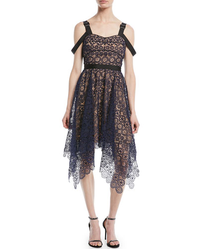 Asymmetric Floral Lace Midi Cocktail Dress