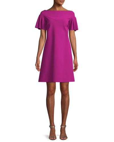 Viketta Flutter-Sleeve Cocktail Dress