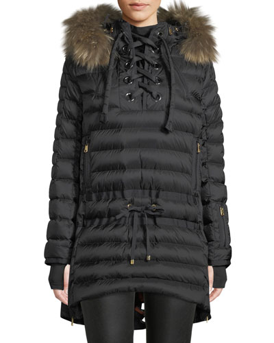 b63ce9f8630 Debby Down Puffer Coat w  Removable Fur Trim   Laces