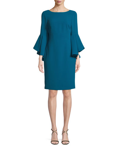 Bateau-Neck Dress w/ Trumpet Sleeves