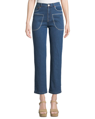 Stitched Straight-Leg Ankle Jeans