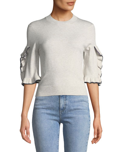 Ruffle-Sleeve Cropped Crewneck Sweater
