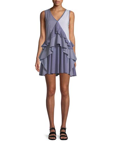 Striped Sleeveless Ruffle Mini Dress